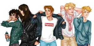 Ilustración de los cinco chicos protagonistas.